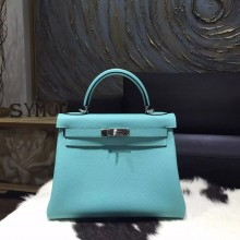Replica Hermes Kelly 28cm Togo Calfskin Original Leather Bag Handstitched Palladium Hardware, Blue Atoll 3P RS05582