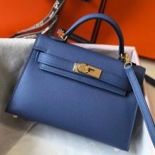 Replica Hermes Kelly Mini II Bag In Blue Agate Epsom Original leather 20cm Golden hardware Bag RS26211