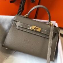 Fake Hermes Kelly Mini II Bag In Original leather 20cm Golden Hardware Gray Bag RS26217