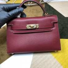 High Imitation Hermes Kelly Mini II In Original leather 20cm Golden Hardware Wine Red Bag RS26230