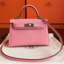 Replica Hermes Kelly Mini II Bag In Original leather 20cm Silver Hardware Pink Bag RS26215