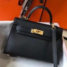 Replica Hermes Kelly Mini II Bag In Black Original leather 20cm Golden Hardware Bag RS26210