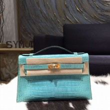 Replica Hermes Mini Kelly Pochette 22cm Shiny Alligator Gold Hardware Handstitched , Turquoise Blue 7B RS19855