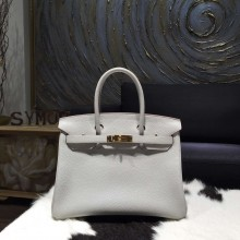 Replica High Quality Hermes Birkin 30cm Taurillon Clemence Calfskin Original Leather Bag Handstitched Gold Hardware, Pearl Grey CK80 RS17035