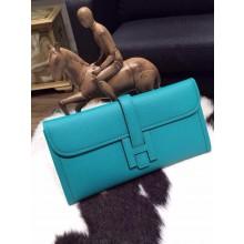 Replica Luxury Hermes Jige Elan Clutch 29cm Epsom Calfskin Handstitched, Blue Paon 7F RS09805