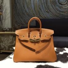 Replica Quality Hermes Birkin 25cm Epsom Calfskin Bag Handstitched Gold Hardware, Gold CK37 RS16636