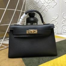 Replica Hermes Kelly Mini II In Original leather 20cm Golden Hardware Black  Bag RS26223