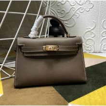 Replica Hermes Kelly Mini II In Original leather 20cm Golden Hardware Brown Bag RS262321