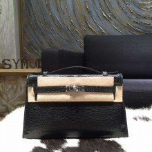Top Hermes Mini Kelly Pochette 22cm Lizard Palladium Hardware, Noir RS17595