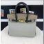 Hermes Horseshoe Birkin 30cm Togo Calfskin Bag Handstitched Palladium Hardware, Etain 8F/Blue Electric 7T RS17464