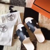 Fake Hermes Izmir Sandals In Black Epsom Leather Shoes RS203213