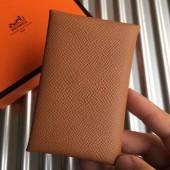 Designer Hermes Brown Epsom Calvi Card Holder Bag RS25714