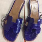 Hermes Blue Crocodile Oran Sandals Momen Shoes RS204215