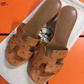 Hermes Brown Ostrich Oasis Sandals Women Shoes RS204216