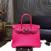 Best Hermes Birkin 30cm Epsom Calfskin Bag Hand Stitched Palladium Hardware, Rose Tyrien E5 RS13313