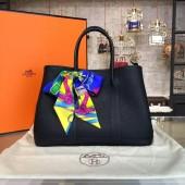 Best Quality Copy Hermes Garden Party 30cm Togo Calfskin Leather Palladium Hardware High Quality, Black RS06397