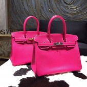 Best Replica Hermes Birkin 30cm Epsom Calfskin Bag Handstitched, Rose Tyrien E5 RS11766