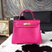 Copy Hermes Autruche Ostrich Souple Retourne Kelly 32cm Bag Handstitched Gold Hardware, Fuschia Pink 5J RS21552