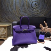 Copy Hermes Birkin 35cm Taurillon Clemence Calfskin Leather Bag Palladium Hardware Handstitched, Iris CK9K RS14464