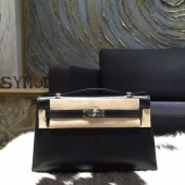 Copy Hermes Mini Kelly Pochette 22cm Box Calfskin Palladium Hardware, Noir Black RS16626