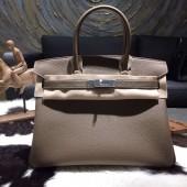 Designer Hermes Birkin 30cm Togo Calfskin Bag Original Leather Handstitched, Etoupe Elephant Grey CK18 RS08647