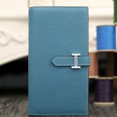 Fake Hermes Bearn Gusset Wallet In Jean Blue Leather RS05724
