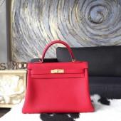 Fashion Copy Hermes Kelly 32cm Bag Togo Calfskin Handstitched Gold Hardware Handstitched, Rouge Casaque Q5 RS02376