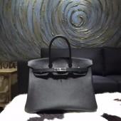 Fashion Hermes Birkin 35cm Epsom Calfskin Leather Bag Palladium Hardware Handstitched, Noir CK89 RS05029