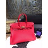 Fashion Hermes Birkin 35cm Taurillon Clemence Calfskin Leather Bag Gold Hardware Handstitched, Rouge Casaque Q5 RS08114