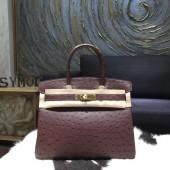 Hermes Autruche Ostrich Birkin 30cm Bag Handstitched Gold Hardware Handstitched, Marron Fonce CK45 RS19351