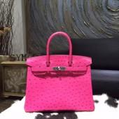 Hermes Autruche Ostrich Birkin 30cm Bag Handstitched Palladium Hardware Handstitched, Fuschia Pink 5J RS20506
