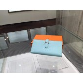 Hermes Bearn Wallet Epsom Leather Palladium Hardware High Quality, Blue Atoll RS10360