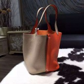 Hermes Bi-Color Picotin Lock Bag 22cm Taurillon Clemence Palladium Hardware Hand Stitched, Orange CC93/Gris Tourterelle CK81 RS06813