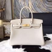 Hermes Birkin 25cm/30cm Togo Calfskin Bag Handstitched Gold/Palladium Hardware, Craie CC10 RS14100