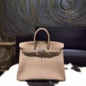 Hermes Birkin 25cm Togo Calfskin Bag Hand Stitched Palladium Hardware, Gris Tourterelle CK81 RS00901