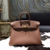 Hermes Birkin 25cm Togo Calfskin Bag Handstitched Gold Hardware, Chocolat CK47 RS08492