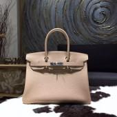 Hermes Birkin 30cm Taurillon Clemence Bag Handstitched Gold/Palladium Hardware, Gris Tourterelle CK81 RS10331