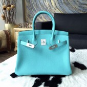 Hermes Birkin 30cm Taurillon Clemence Calfskin Bag Handstitched Palladium Hardware, Blue Atoll 3P RS19081