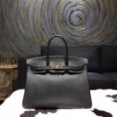 Hermes Birkin 35cm Epsom Calfskin Leather Bag Gold Hardware Handstitched, Noir CK89 RS11368