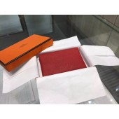 Hermes Calvi Card Holder Case Handstitched Taurillon Clemence Calfskin, Rouge Vermillon RS15444