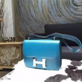 Hermes Constance 23cm Epsom Calfskin Handstitched Palladium Hardware, Blue Izmir 7W RS10860