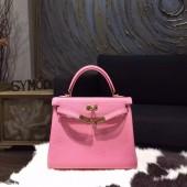 Hermes Kelly 25cm Togo Calfskin Bag Handstitched Gold Hardware, Pink 5P RS17979
