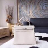 Hermes Kelly 25cm Togo Calfskin Bag Handstitched Palladium Hardware, Craie CC10 RS17547
