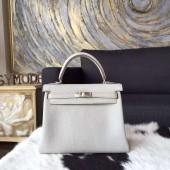 Hermes Kelly 25cm Togo Calfskin Original Leather Bag Handstitched Palladium Hardware, Pearl Grey CK80 RS15457