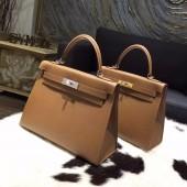 Hermes Kelly 28cm/32cm Epsom Calfskin Bag Handstitched Palladium/Gold Hardware, Alezan 3G RS09239