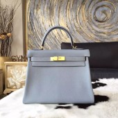 Hermes Kelly 28cm/32cm Taurillon Clemence Bag Handstitched Palladium/Gold Hardware, Blue Lin J7 RS07283