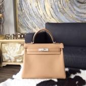 Hermes Kelly 28cm/32cm Togo Calfskin Bag Handstitched Palladium/Gold Hardware, Tabac Camel CK24 RS12569