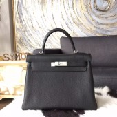 Hermes Kelly 28cm/32cm Togo Calfskin Original Leather Bag Handstitched Palladium Hardware, Noir RS05157