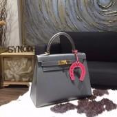 Hermes Kelly 28cm Chevre Myzore Calfskin Bag Handstitched Gold Hardware, Etain 8F RS17370