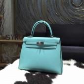 Hermes Kelly 28cm Epsom Calfskin Original Leather Bag Handstitched Palladium Hardware, Blue Atoll 3P RS03001